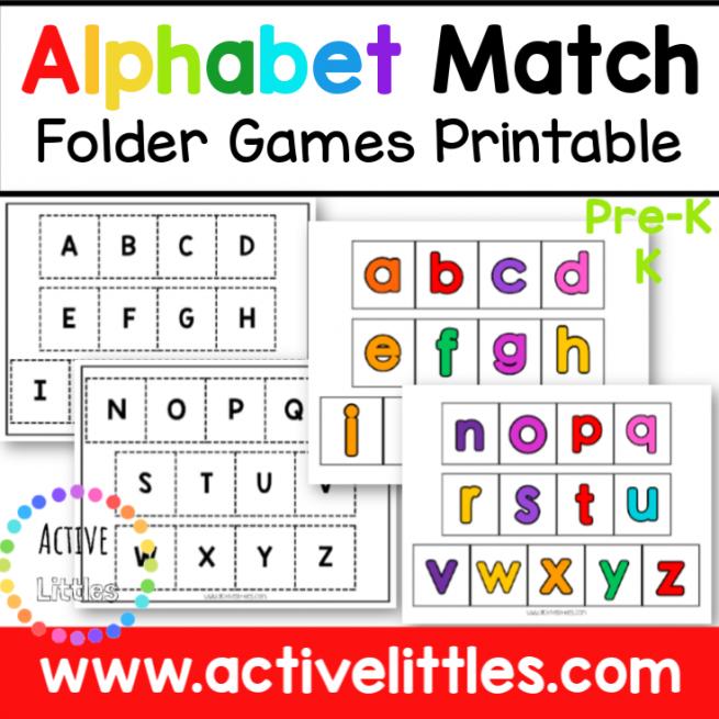 Alphabet Match Folder Games Printable for Kids