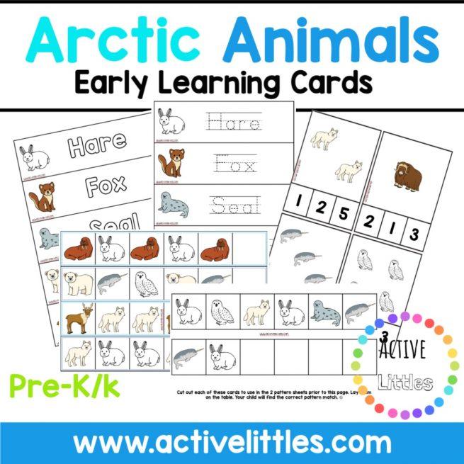 Arctic Animals Clip Cards Printable
