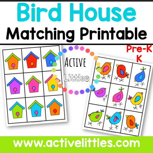 Bird House Matching Preschool Printable for kids- Active Littles