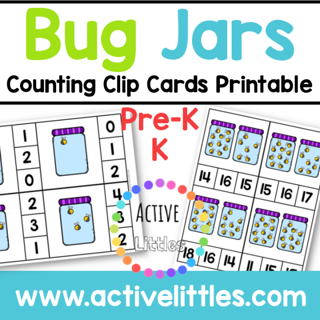 Bug Jars Counting Clip Cards Printable for kids - Active Littles