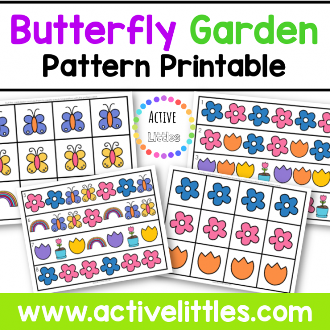 Butterfly Garden Pattern Printable for Preschool and for Kids - Active Littles