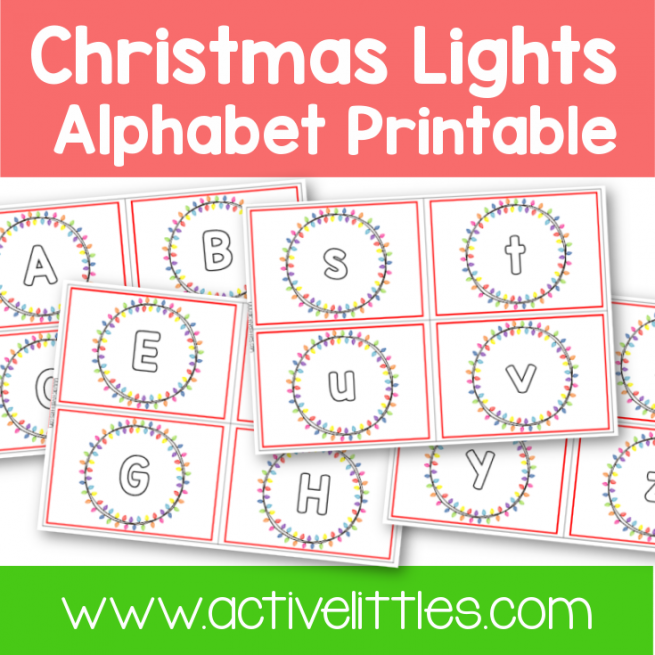 Christmas Lights Alphabet Cards Printable - Active Littles
