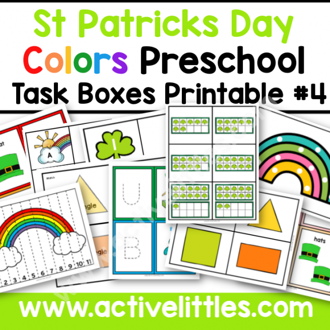 Colors Preschool Task Boxes Printable St Patricks Day - Active Littles-2