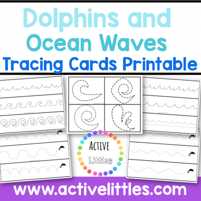 Dolphin and Ocean Waves Tracing Cards Printable
