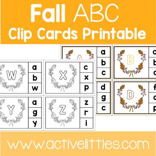 Fall ABC Clip Cards preschool printable