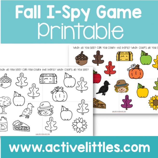 Fall I-Spy Game Printable preschool