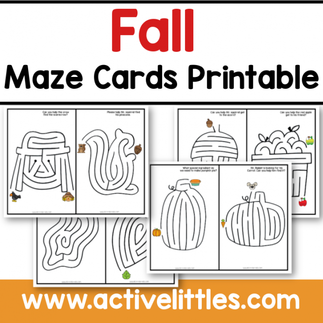 Fall Maze Cards Printable Preschool Toddlers