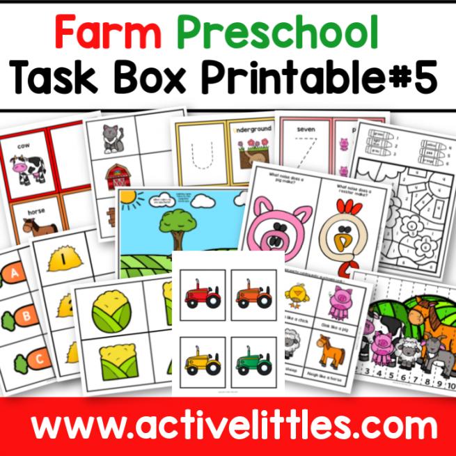 Farm Preschool Task Box Printable - Active Littles-2
