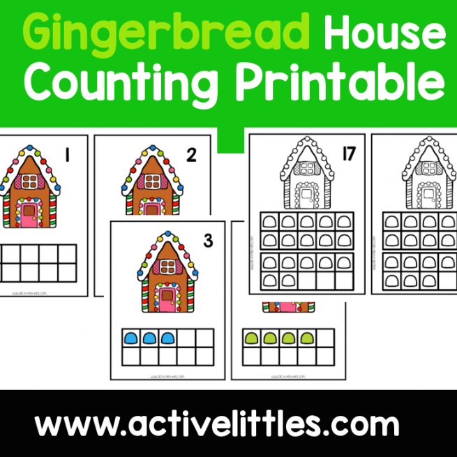 Gingerbread House Counting Cards preschool printable