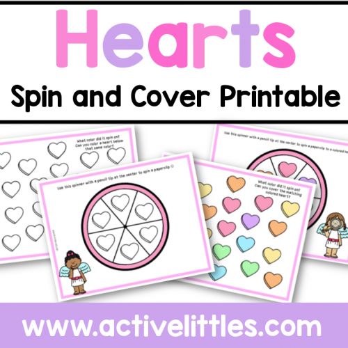 Hearts Spin and Cover Preschool Printable