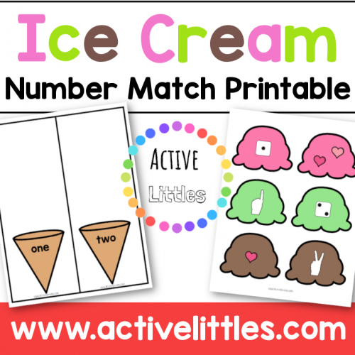 Ice Cream Number Counting Printable for kids - Active Littles
