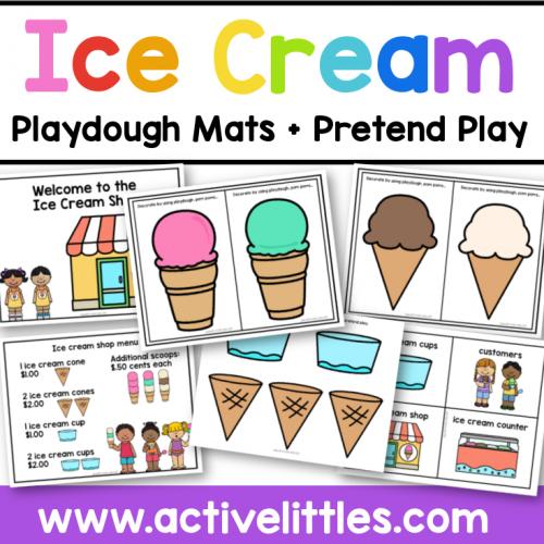 Ice Cream Playdough Mats and Pretend Play Printable