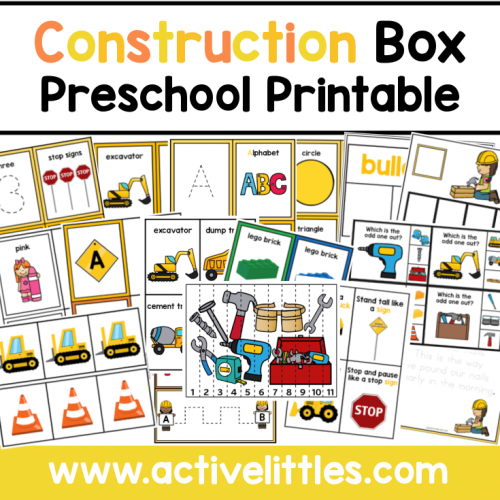 Construction Preschool Task Box Printable