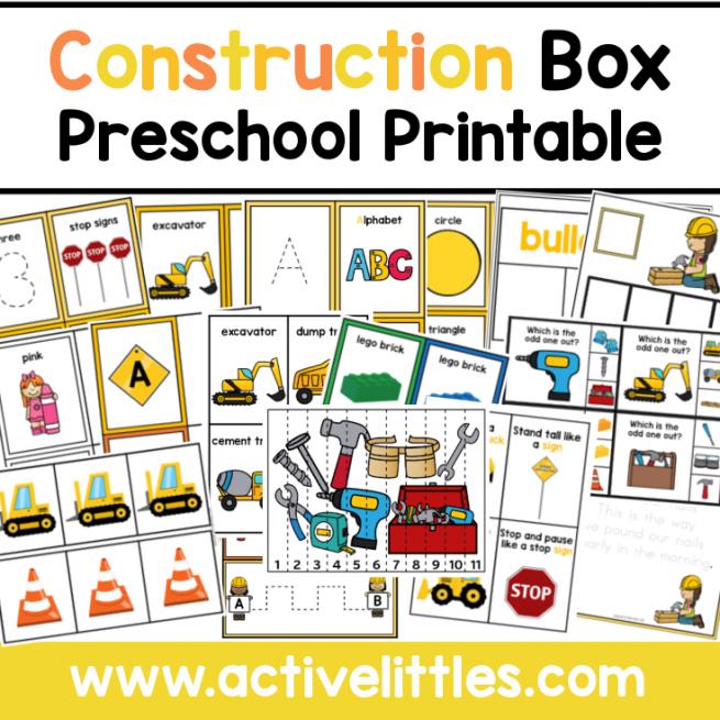 Construction Preschool Task Box Printable