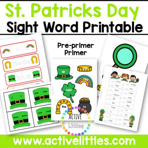March Sight Word Pack St. Patricks Day Printable - Active Littles