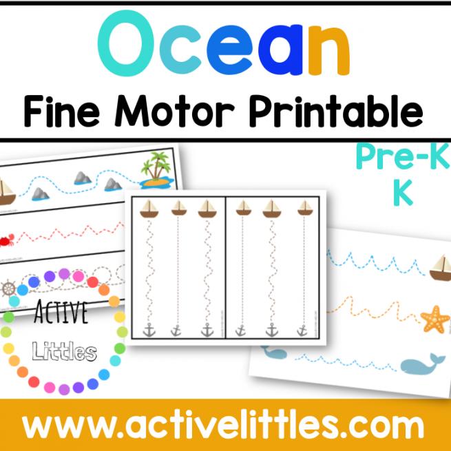 Ocean Fine Motor Printable for kids - Active Littles