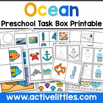 Ocean Preschool Task Box Printable for kids - Active Littles