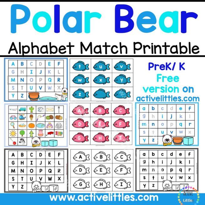 Polar Bear Alphabet Match Free Printable