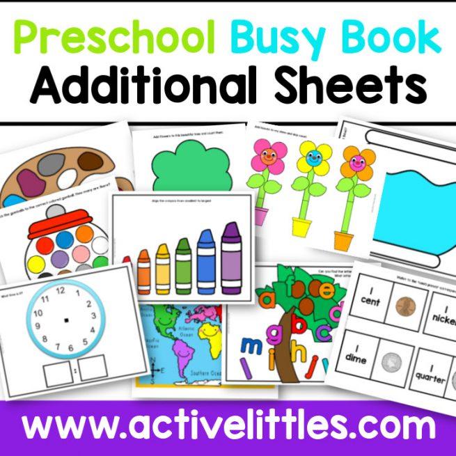Preschool Busy Book Activity Binder Additonal Sheets Printable