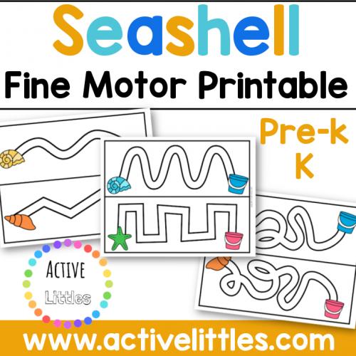 Seashell Fine Motor Printable Activity for kids - Active Littles