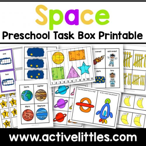 Space Preschool Task Box Printable for Kids