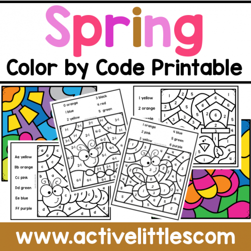 Spring Color By Code Printable for Kids - Active Littles