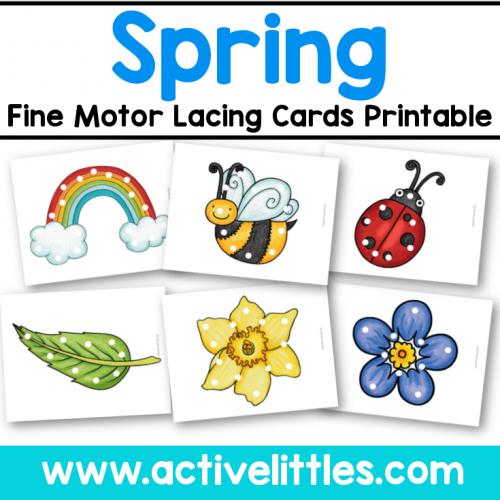 Spring Fine Motor Lacing Cards Printable