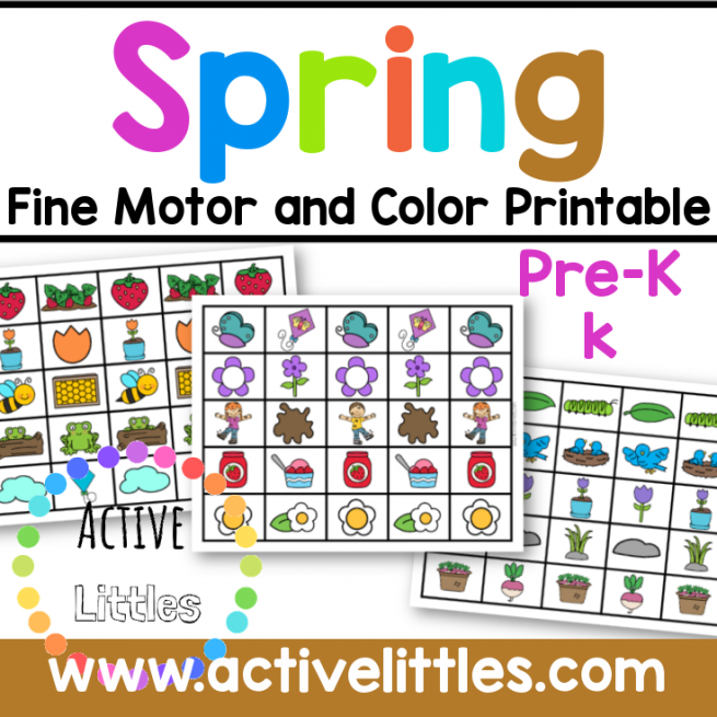Spring Fine Motor and Color Printable for Kids