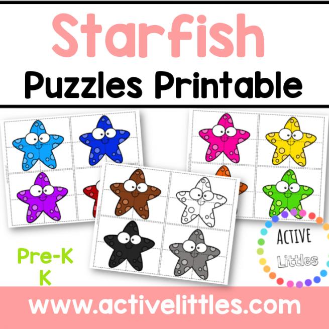 Starfish Puzzle Printable for kids