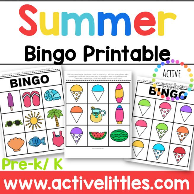 Summer Bingo Printable for kids - Active Littles