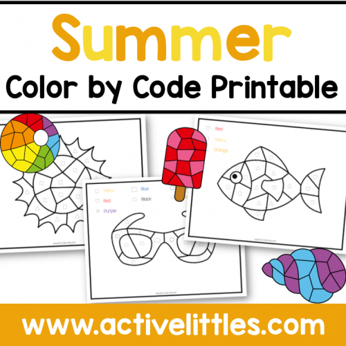 Summer Color by Code Printable for Kids