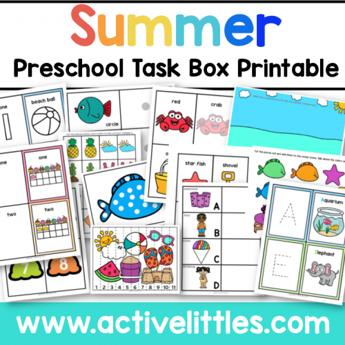 Summer Preschool Task Box Printable for kids - Active Littles