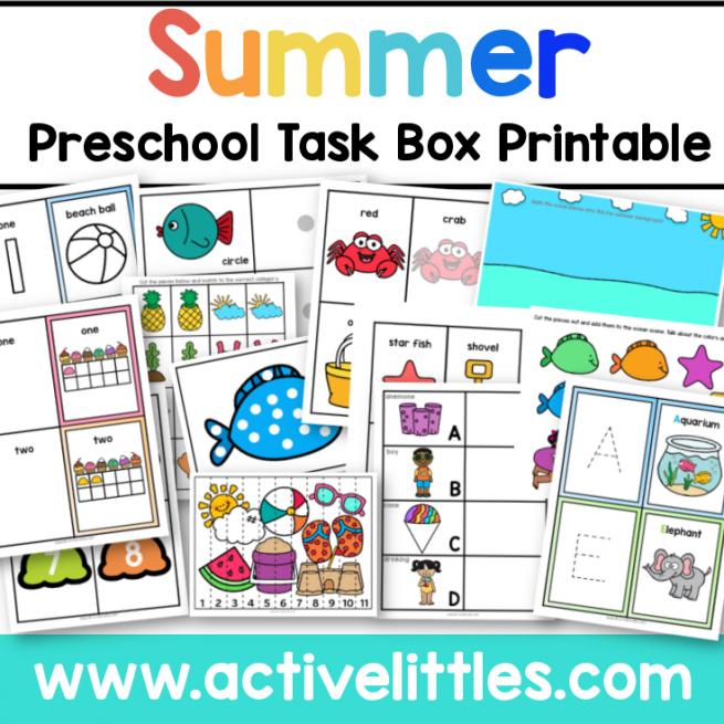 Summer Preschool Task Box Printable for kids - Active Littles