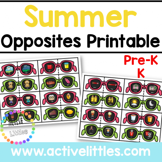 Summer opposites printable for kids
