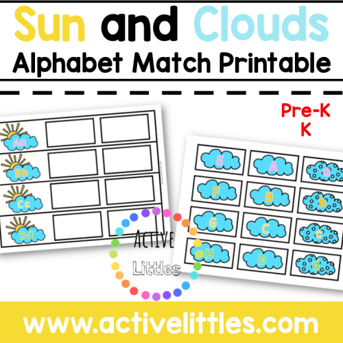 Sun and Clouds Alphabet Match Printable for Kids