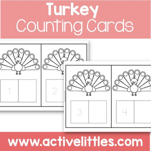 Turkey Counting Cards preschool printable