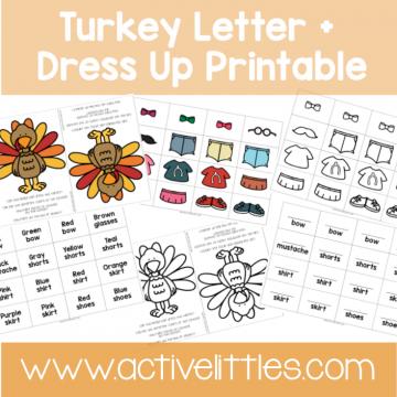 Turkey Dressup Activity toddler printable