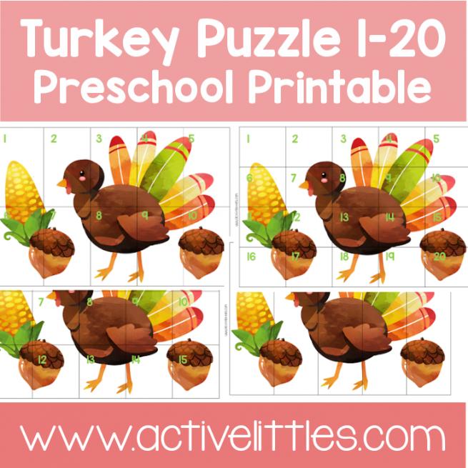 Turkey Puzzle preschool Printable