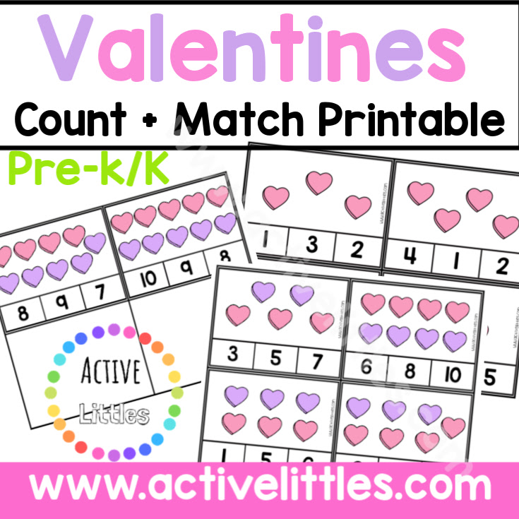 Valentines Count and Match Printable