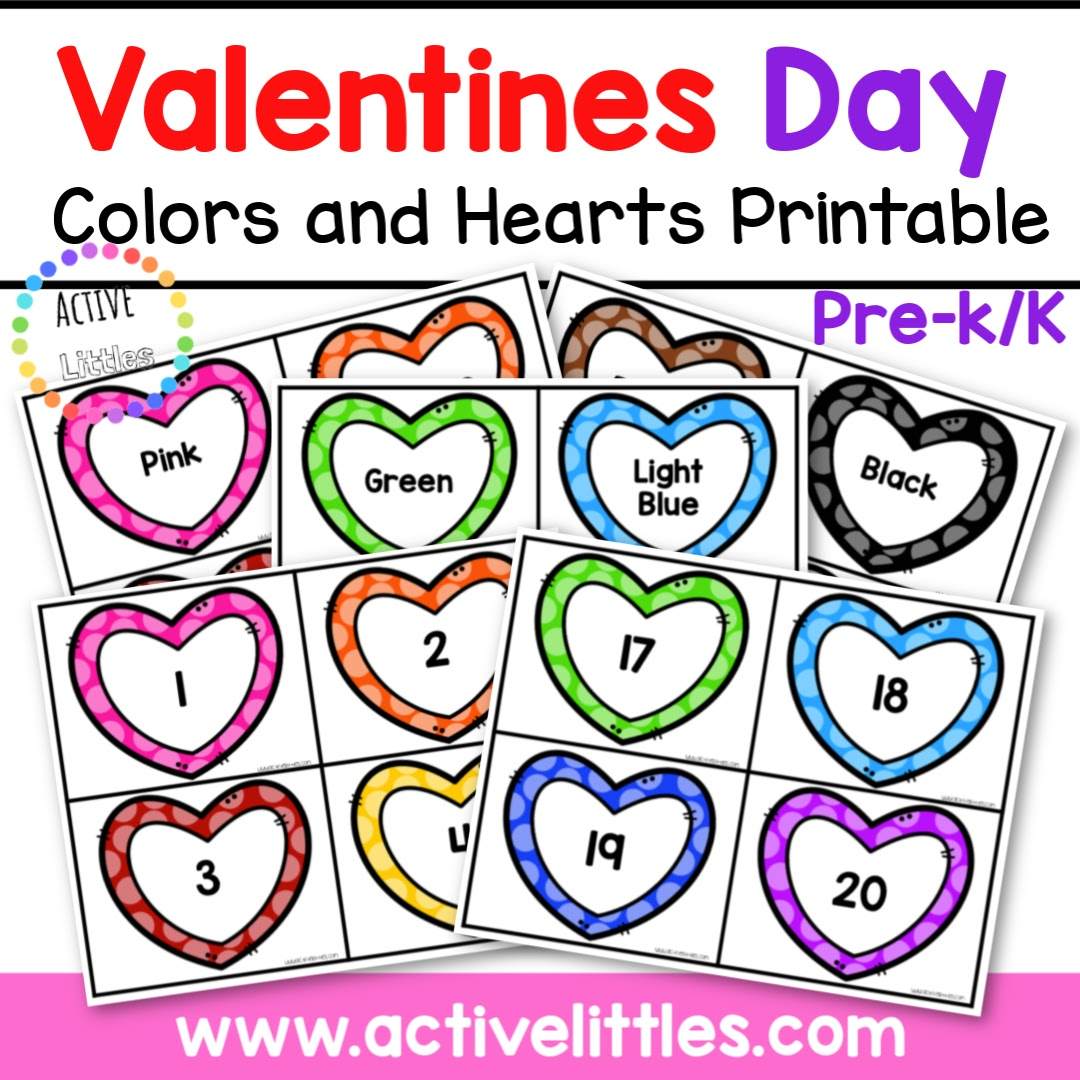 Valentines Day Colors and Numbers Printable Cards