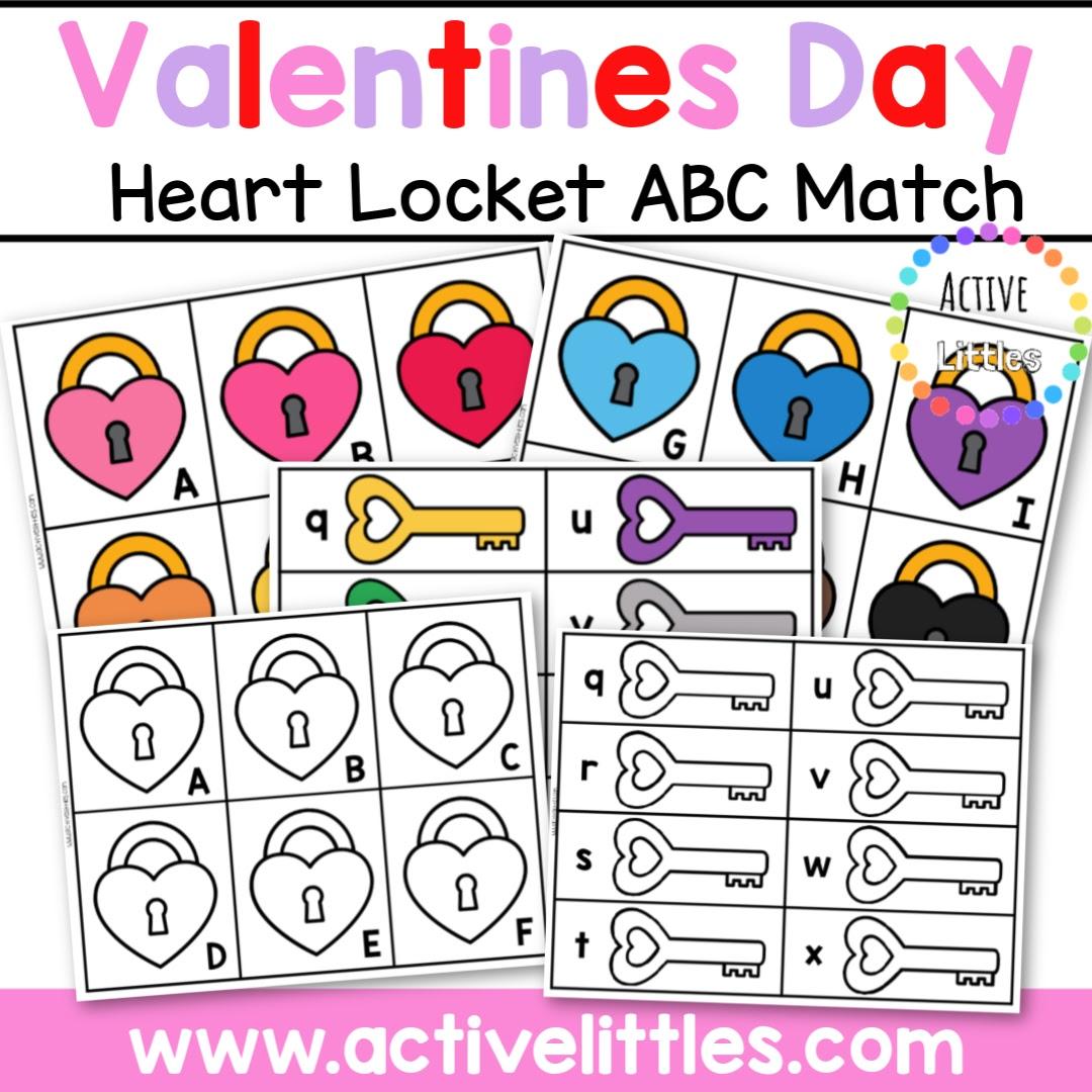 Valentines Day Heart Locket ABC Match