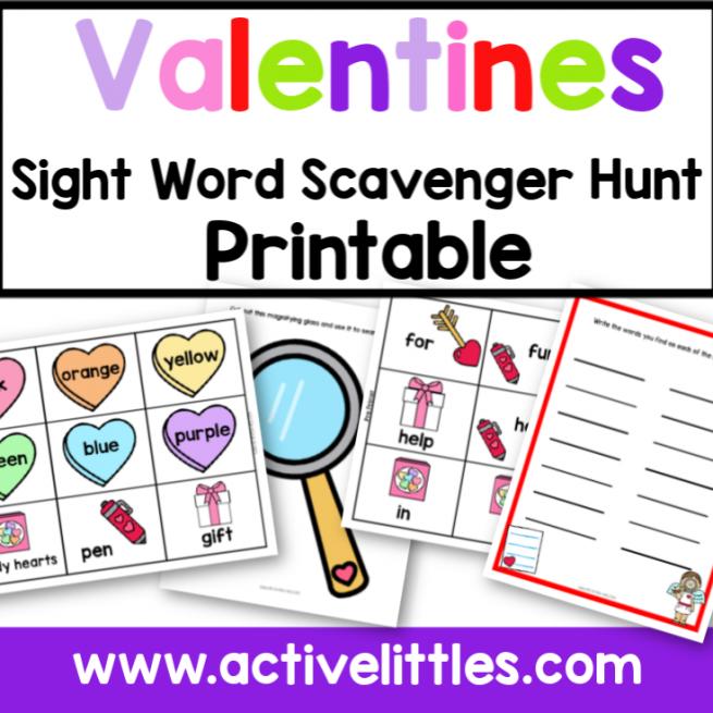 Valentines Sight Word Scavenger Hunt Printable
