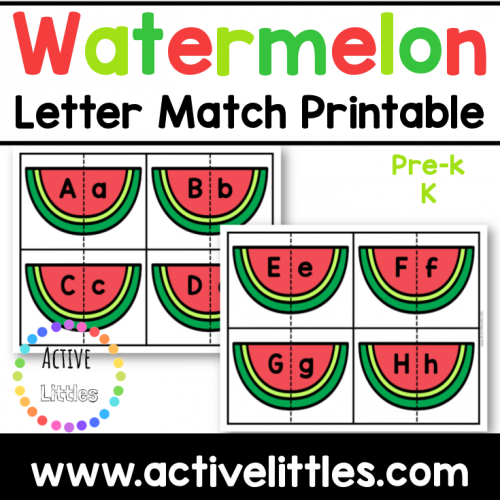 Watermelon Letter Match Printable for kids - Active Littles
