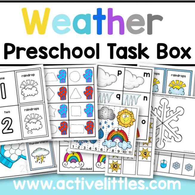 Weather Preschool Task Box Printable for Kids