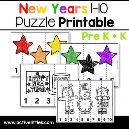New Years Puzzle Game Preschool Printable