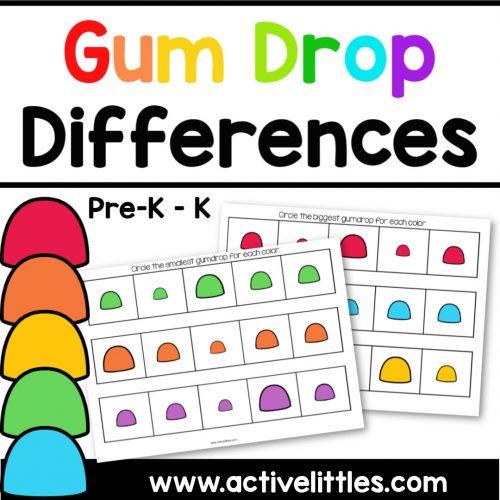 Gum Drop Differences Preschool Printable