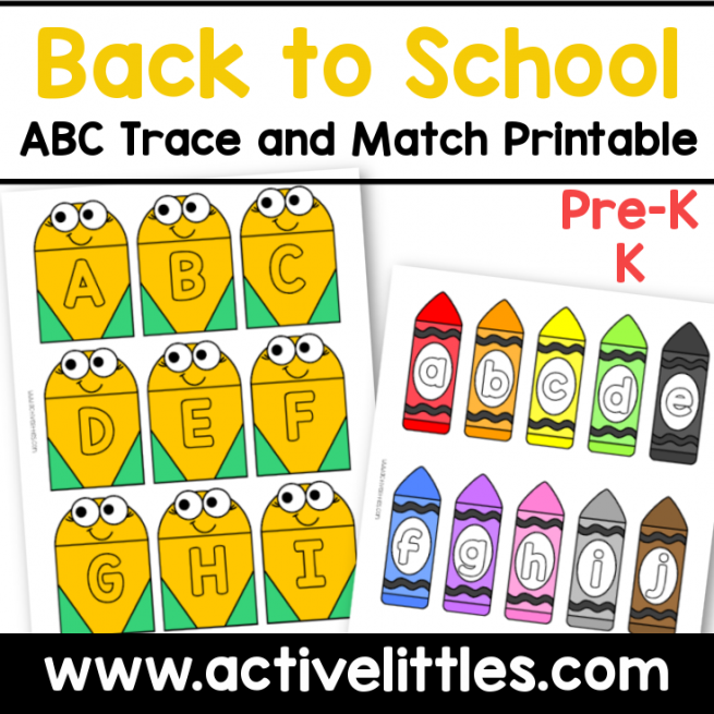 back to school abc trace and match printable activity preschool