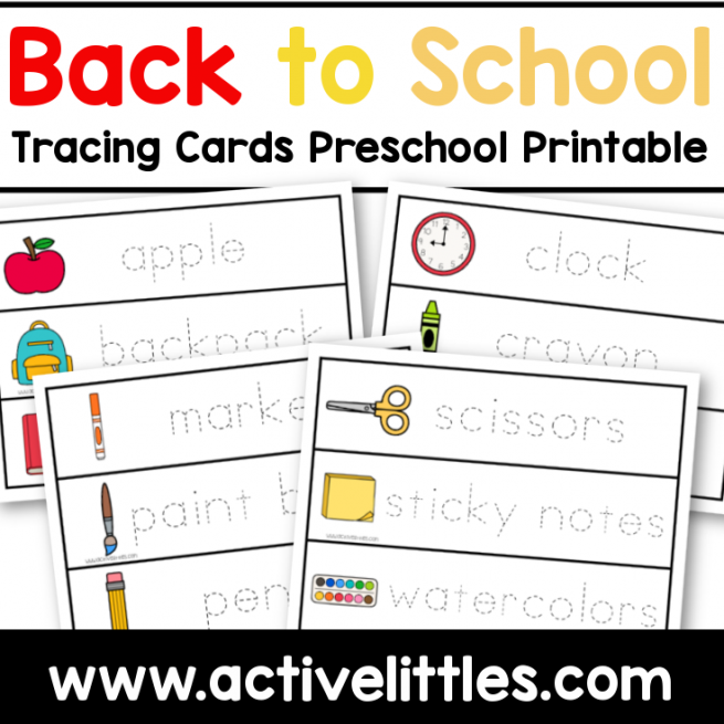 back to school tracing cards printable