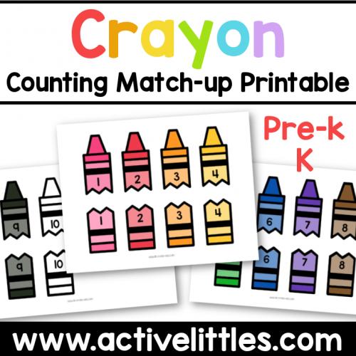 crayon counting matching printable preschool kindergarten