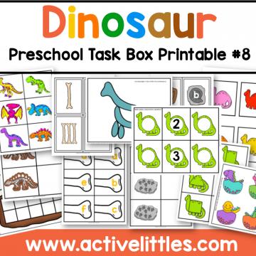dinosaur preschool task box printable for kids - Active Littles